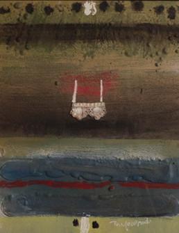 'Mujer no me dejes', obra de Fernando Peiró Coronado. Técnica: spray, óleo, ceras y tela sobre tabla preparada con arena y látex. 34x26.