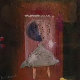 'Niño Mozart al piano', obra de Fernando Peiró Coronado. 28x28, spray, óleo, ceras y papel sobre tabla preparada con arena y látex.