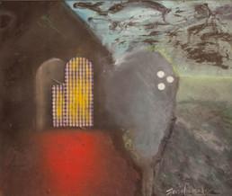 Obra de Fernando Peiró Coronado. Técnica: spray, óleo, ceras y tela sobre cartulina. Colección del artista. Medidas, 30x35.