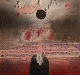 'Magia en clave de sol', de Fernando Peiró Coronado. 26x28. Óleo, ceras, spray y papel en una composición en la que la música es protagonista. Medidas 26x28