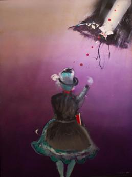 'Cazadora de sueños' obra de Fernando Peiró Coronado. Medidas, 130x97. Óleo y spray sobre tabla entelada.
