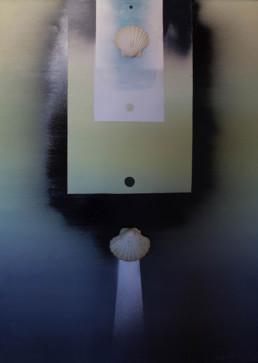 'Espacio femenino abierto al infinito' obra de Fernando Peiró Coronado. Pintura de gran formato, 135x92, realizada con óleo y spray sobre lienzo con conchas.