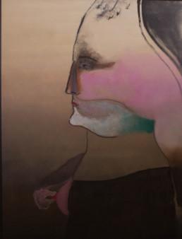 'La visita de la ironía' obra de Fernando Peiró Coronado, óleo y pastel sobre tabla entelada. Medidas, 130x97. Figura sobre fondo atmosférico, con difuminados de color.