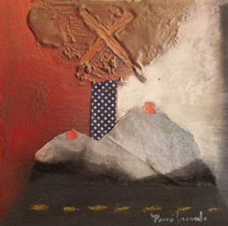 'Paisaje femenino', obra de Fernando Peiró Coronado. Óleo, spray, ceras, papel y tela sobre tabla preparada matéricamente. Medidas, 33x32.