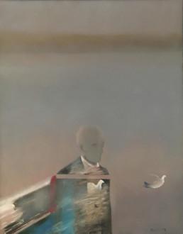 Pintura de Fernando Peiró Coronado , óleo sobre lienzo, con título 'Soltó la última paloma', donado al MUCBE en 2010. Medidas, 65x50