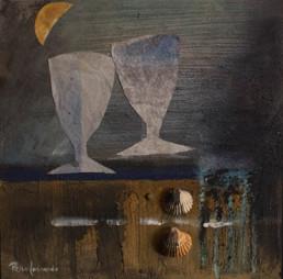 'Brindis mano a mano', obra de Peiró Coronado, tabla preparada con arena y látex. Medidas, 32x32. Un collage de brindis a la luz de la luna