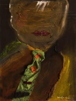 'Encantado de haberse conocido I', pintura de Peiró Coronado, óleo, ceras y tela sobre tabla preparada con arena y látex. Obra matérica, medidas 50x37.
