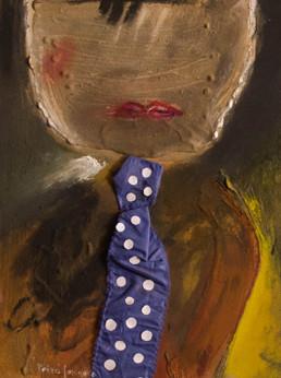 Pintura de Peiró Coronado. que recuerda a otra obra realizada años atrás, 'El señor del Paralelo'. Medidas, 50x37