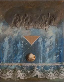 'Mujer, cuánto silencio'. Tabla preparada con arena y látex. Óleo, spray, ceras y puntilla. Pintura de Peiró Coronado 2008. Medidas, 33x25