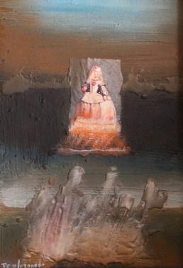 'Pensando en la Infanta Margarita', óleo, ceras y collage sobre tabla matérica.Medidas 40x27. Exposición de Peiró Coronado en 2009 en la galería Taüll de Barcelona.