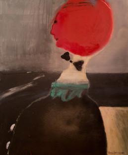 'Personaje' , pintura de Peiró Coronado, óleo y spray sobre tabla preprada con base matérica de arena y látex. Medidas 55x46