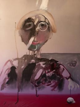 'Yo con yo-yo caracol' , óleo sobre lienzo de Peiró Coronado. Autorretrato. Medidas 73x54.