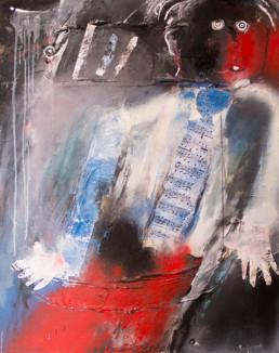 'Elevación musical' de Peiró Coronado cargado de ironia. Polvo de mármol con látex, spray y óleo. Medidas 93x73