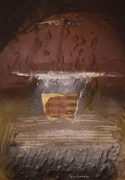 'Acordes arpegiados' pintura de Fernando Peiró Coronado. Abstracción. Obra matérica y collage. Medidas 50x37.