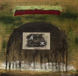 obra de Peiró Coronado. abstracción, neofigración, Kafka, obra con materia y collage. Medidas 30x30.