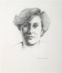 Retrato de Julia Forés, realiado a lápiz por Fernando Peiró Coronado en 1980.