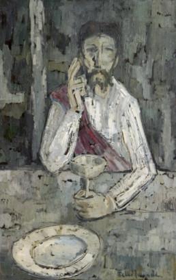 Pintura de Fernando Peiró Coronado realizada en 1959 también conocida como el Cristo de los milagros. Mdidas 81x52.