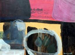 Bodegón. Pigmentos con látex y óleo sobre tabla de Fernando Peiró Coronado pintado en 1963. Medidas 44x61.