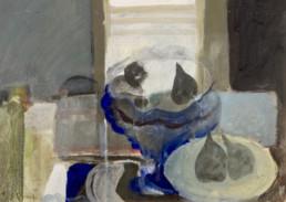 'Bodegón frente a la ventana' obra de Fernando Peiró Coronado realizada en 1965 a base de pigmentos con látex sobre cartulina. Medidas 30x42.