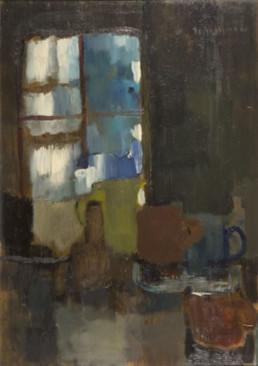 Pintura de Fernando Peiró Coronado 'Bodegón junto la ventana' pintado en 1967, técnica óleo sobre tabla. Medidas 69x49.