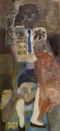 Pintura de Fernando Peiró Coronado 'Torero a hombros', realizado con pigmentos con látex sobre cartulina en 1967. Medidas 100x47.