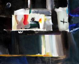 'El aficionado', pintura de Fernando Peiró Coronado, óleo sobre lienzo, hombre aficionado ante dos siluetas femeninas. Medidas 51x62.
