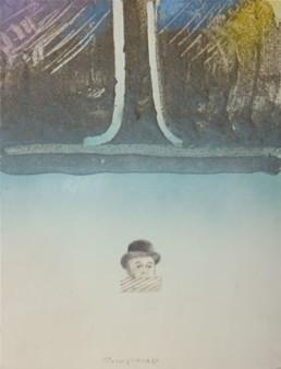 Pintura de Fernando Peiró Coronado, 'Poema con Magritte', obra realizada con spray, óleo, lapiz y ceras sobre cartulina preparada con arena y látex.