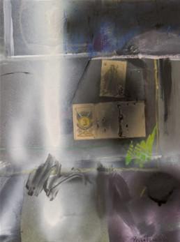Pintura de Fernando Peiró Coronado, 'Decisión con dudas', obra realizada con spray, óleo, ceras y collage sobre cartulina. Medidas 39x29