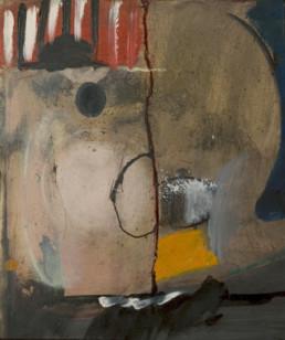 Pintura 'Paisaje humano' de Fernando Peiró Coronado. Obra realizada con óleo y pigmentos al látex sobre tabla. Medidas 42x30