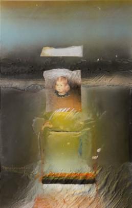 Pintura 'Jugando con la infanta Margarita' de Peiró Coronado. Medidas 40x25, obra realizada con óleo, ceras y spray sobre tabla preparada con arena y látex.