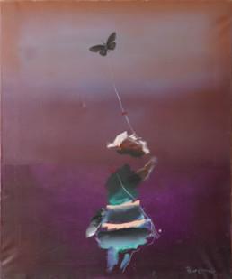 Pintura 'Ensoñadora de deseos'' de Fernando Peiró Coronado. 65x54. Óleo sobre lienzo en la que, aunque la figura es protagonista, la presencia del espacio y su definición degradada también. Espacialismo que nos recuerda a Rothko