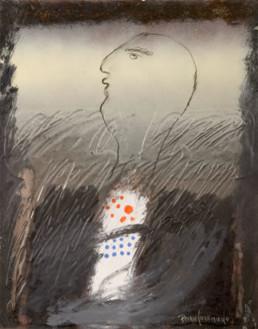 Pintura de Fernando Peiró Coronado. 'Personaje más que frecuente', obra realizada con spray y óleo sobre cartulina preparada con polvo de mármol y látex. Medidas 33x25.