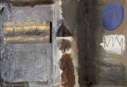 Pintura de Fernando Peiró Coronado. 'Al escritor' obra de pequeño formato, medidas 15x21. Técnica, spray, óleo, ceras y tela sobre cartulina.