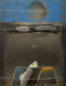 Pintura de Fernando Peiró Coronado 'Hundido a pesar de apuntar la esperanza', realizada con óleo y ceras sobre cartulina preparada matéricamente.