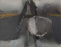 'Tras la ventana después de la lluvia', pintura de Fernando Peiró Coronado. Medidas, 25x33. Óleo, spray y ceras sobre cartulina preparada matéricamente.