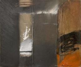 'Ventana oriental abierta al misterio', pintura de Fernando Peiró Coronado, tabla prepara con materia que favorece a texturas. Medidas 46x55.