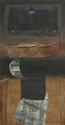 'Romántica composición musical', pintura de Fernando Peiró Coronado ralizada sobre cartulina preparada matéricamente. 36x19.