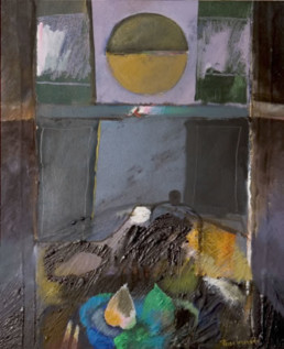 'Bodegón ante la ventana' pintura de Peiró Coronado sobre tabla preparada matéricamente.