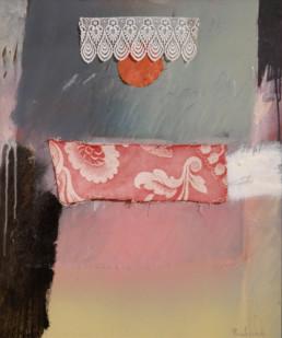Pintura de Fernando Peiró Coronado, 'Dudas de novia en víspera de boda', realizada con óleo y spray, ceras, telas y puntillas sobre tabla preparada con polvo de mármol