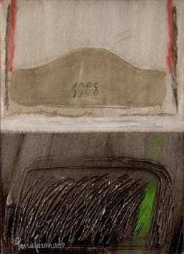 'La última cama' obra de Fernando Peiró Coronado realizada sobre tabla preparada con polvo de mármol y trabajada con spray, óleo y ceras.