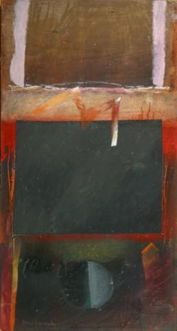 Pintura de Peiró Coronado realizada sobre tabla con una base de arena con látex en 1988. Medidas 50x27.