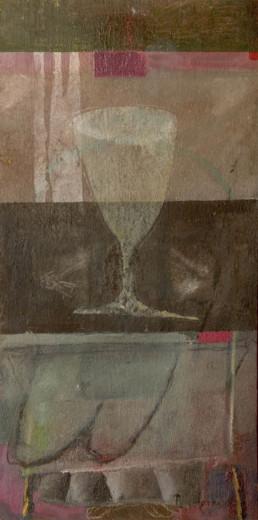 'En espera del brindis que nunca llegó' obra de Fernando Peiró Coronado. Medidas, 35x26. Técnica mixta: óleo y ceras sobre cartulina preparada con polvo de mármol.