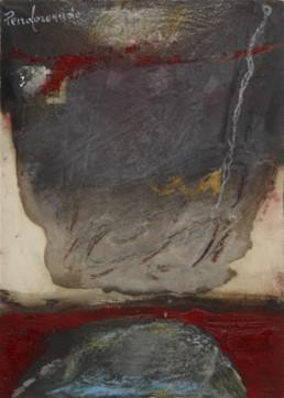 'Mar Rojo con formas dolientes' obra de Fernando Peiró Coronado. Medidas, 21x15. Técnica mixta: óleo y ceras sobre cartulina preparada con arena y látex.