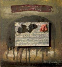 'Metamorfosis, Kafka' obra de Fernando Peiró Coronado. Medidas, 24x22. Pintura realizada con óleo, ceras y collage de papel y tela sobre tabla preparada matéricamente.
