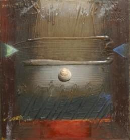 Pintura de Fernando Peiró Coronado 'Mujer no me dejes', técnica mixta: óleo, spray, collage y ceras sobre tablero preparado con polvo de mármol.