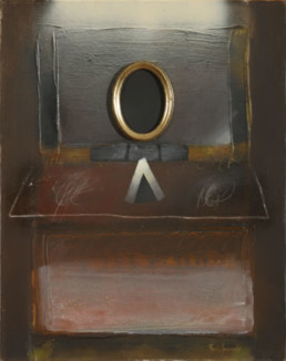 '¿En otros espacios devolverá el espejo mi imagen?' obra de Fernando Peiró Coronado. Técnica mixta: óleo, spray y ceras sobre tablero preparado con polvo de mármol