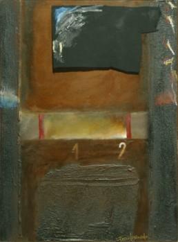 Pintura de Fernando Peiró Coronado 'Yo soy más de uno', técnica mixta: óleo, spray, collage y ceras sobre tablero preparado con arena con látex.