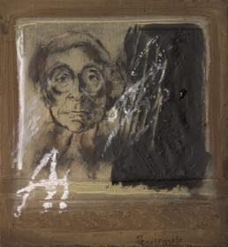 'Autorretrato con la A', obra de Fernando Peiró Coronado. Medidas, 25x23. Técnica mixta: óleo y ceras sobre tabla preparada matéricamente.