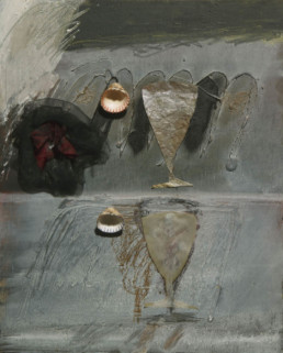 'Recuerdos dolorosos de la mujer', obra de Fernando Peiró Coronado. Medidas, 41x33. Técnica mixta: óleo, ceras, tela, conchas y papel sobre tabla preparada matéricamente.
