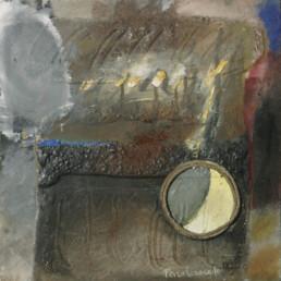'La luna llegó a la fragua', obra de Fernando Peiró Coronado Obra matérica sobre tabla. Medidas, 26x26. Pintura que alude a un poema de García Lorca.
